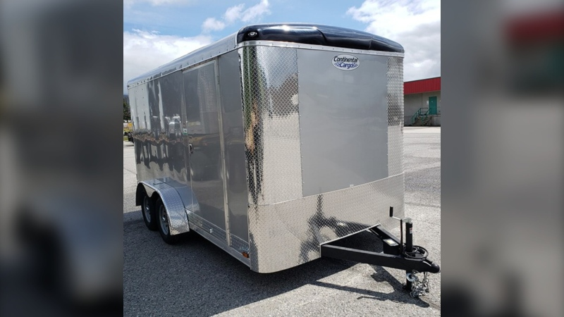 Lake Louise RCMP are looking for information about this cargo trailer that was reported stolen from Storm Mountain Lodge in Banff National Park on Friday. (Supplied)