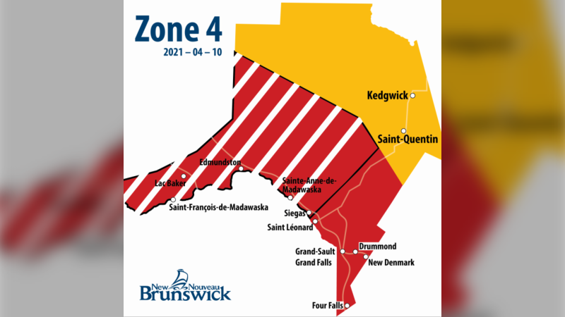 A map showing the lockdown area of the Edmundston region (Zone 4). The red and white stripes represent a lockdown zone, while red and yellow represent their respective colour zones. (Photo: New Brunswick Government)