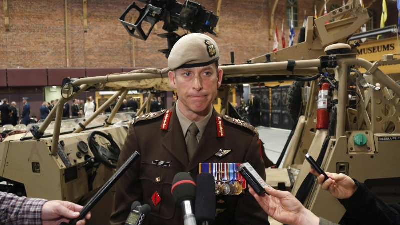 In this file photo, Major-General Peter Dawe speaks to reporters at a Canadian Special Operations Forces Command change of command ceremony in Ottawa on Wednesday, April 25, 2018. THE CANADIAN PRESS/ Patrick Doyle