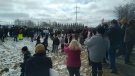 Protesters in front of GraceLife Church on April 11, 2021 (CTV News Edmonton).