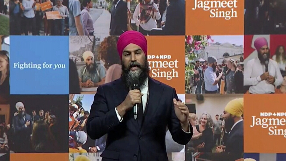 Federal New Democrat Leader Jagmeet Singh speaks at his party's convention on Sunday, April 11, 2021.
