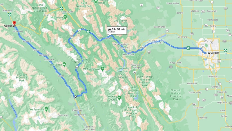 A detour because of a twinning project for the Trans-Canada Highway will force drivers onto a detour that will add more than an hour to the trip west. (File/Google Maps)