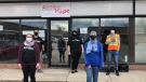 Canadian Cedars of Hope members, outside their 561 Southdale Road east, donation drop off centre - Sunday April 11, 2021 (Jordyn Read / CTV News)