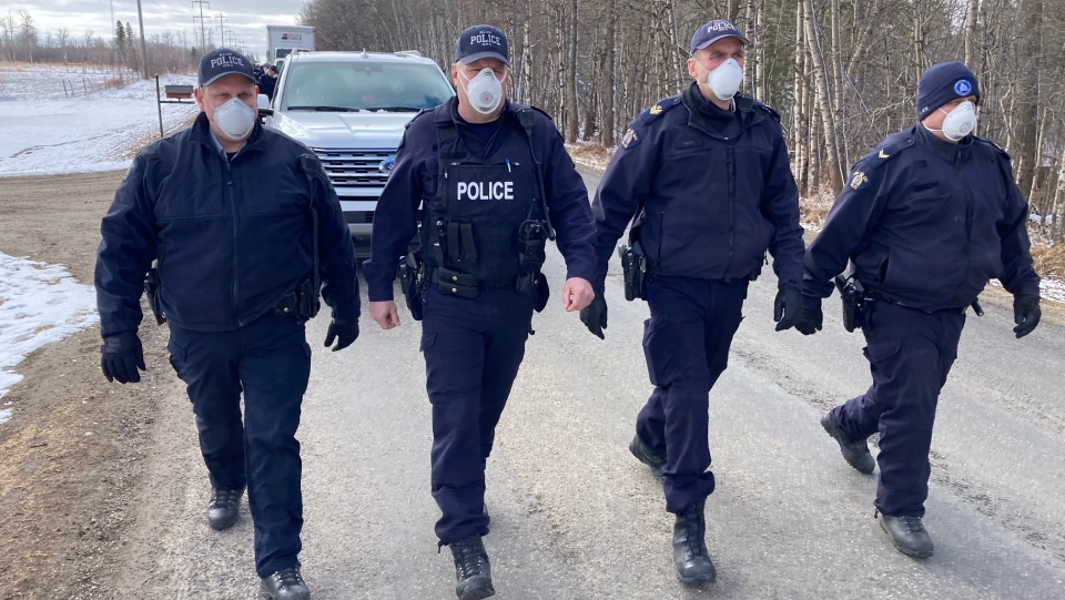 RCMP prepare for protesters at GraceLife Church on April 11, 2021 (CTV News Edmonton).