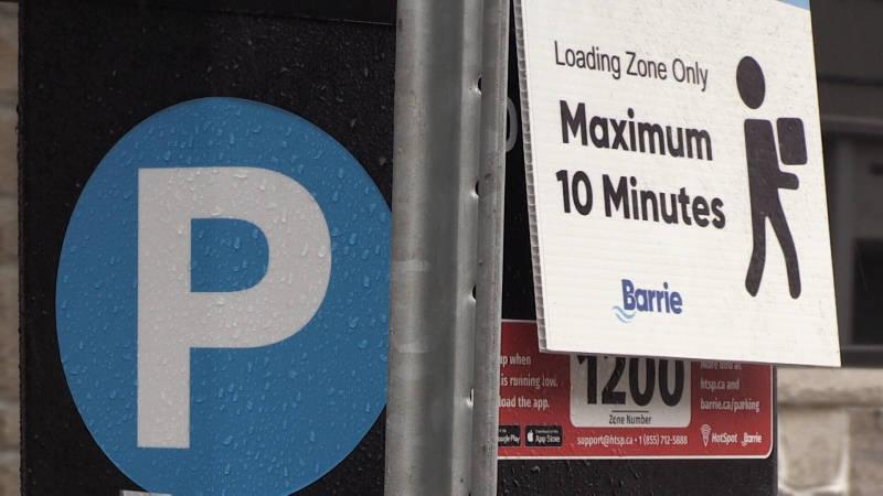 A short term parking spot in downtown Barrie, Ont. on Sun. April 11, 2021 (David Sullivan/CTV News)