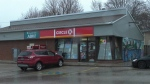 Barrie Police say the Circle K near St. Vincent and Duckworth Streets in Barrie, Ont. pictured on Sun. April 11, 2021 has been held up at knifepoint twice in the last 11 days (Chris Garry/CTV News)