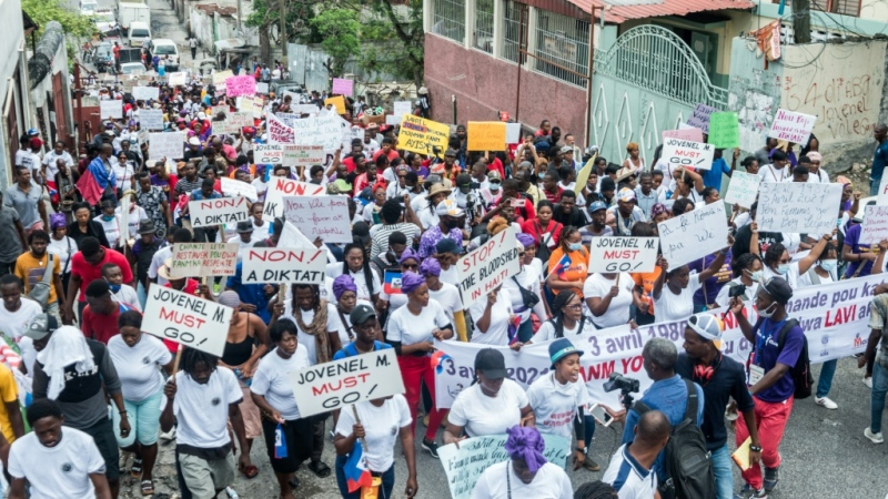 Haitians march in Port-au-Prince to commemorate the national day of the Haitian women's movement on April 3, 2021. (AFP)
