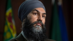 NDP Leader Jagmeet Singh reflects on a question during a news conference on Parliament Hill in Ottawa, Tuesday February 23, 2021. THE CANADIAN PRESS/Adrian Wyld