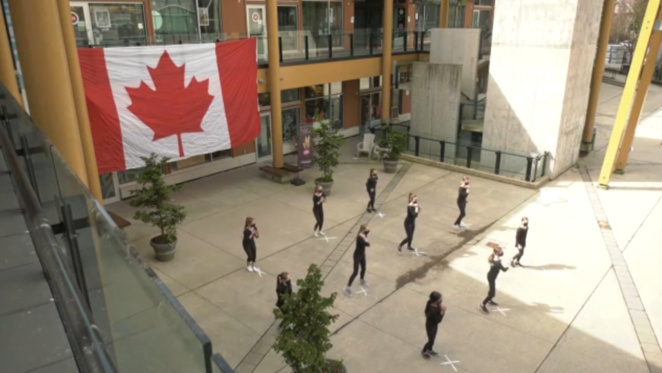 In small, physically distanced groups, members of the community performed a short dance routine as a way to come together and demonstrate that Lynn Valley will not be intimidated by the actions of the person who randomly stabbed seven people on March 27, leaving one dead. (CTV)