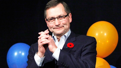 Alberta Premier Ed Stelmach reacts to winning his leadership review with 77.4% at the Alberta PC party's annual meeting in Red Deer, Saturday, Nov. 7, 2009. (Jeff McIntosh / THE CANADIAN PRESS)