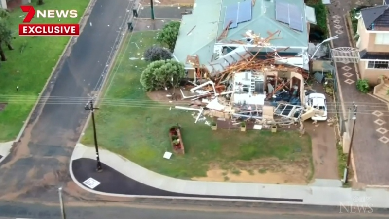 A tropical cyclone battered Western Australia, leaving a trail of destruction as wind gusts reached nearly 170 km/h.