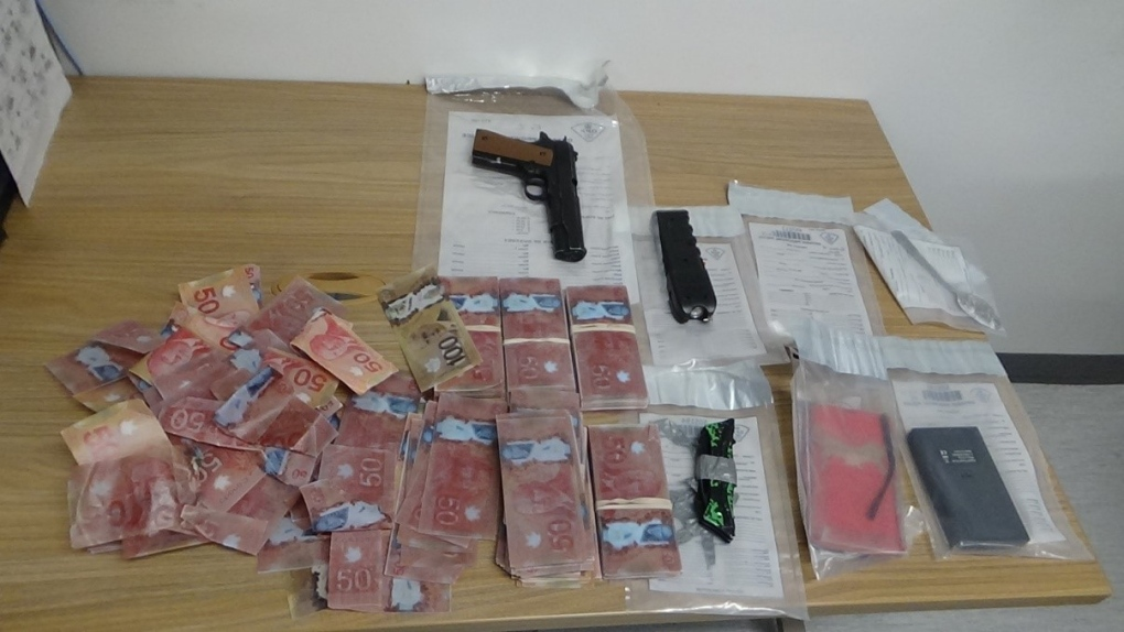 Seized items during police raid