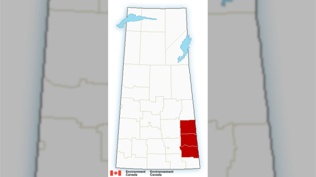 Snowfall warnings remain in place in parts of Southern Sask. (Environment Canada)