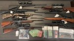 Police say they seized nine firearms, what is believed to be cocaine, and other drug paraphernalia used in the drug-trafficking industry.  (Photo courtesy: RCMP)