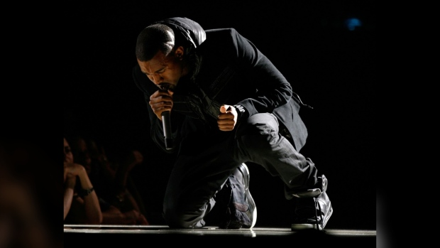 The sneaker range were the first to be launched by West's Yeezy brand, and the singer debuted the black hightops during his performance at the 2008 Grammys. (Getty Images/AFP)