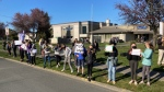 Approximately three-dozen students were outside Lansdowne Middle School's south campus on Monday morning. (CTV News)