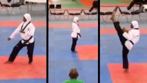 Taekwondo athlete wins while 8 months pregnant