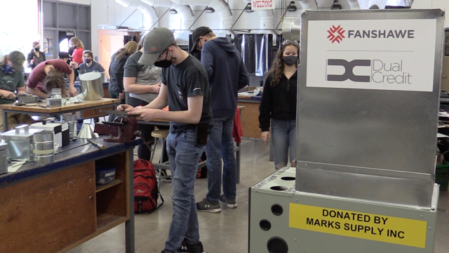 Dual credit college course in sheet metal at St.Marys DCVI on April 12, 2021. (Scott Miller/CTV London)