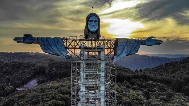 A huge statue of Jesus Christ is under construction in southern Brazil, and it will be even taller than its famous counterpart in Rio de Janeiro. (SILVIO AVILA/AFP/Getty Images via cnn)