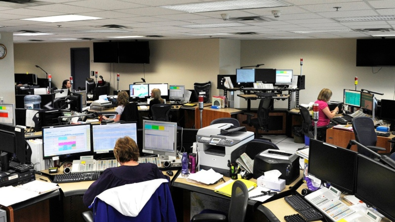 One of two Operational Communications Centres in Alberta, where 911 calls are answered. Albertans mademore than 890,000 emergency calls last year. (RCMP handout)