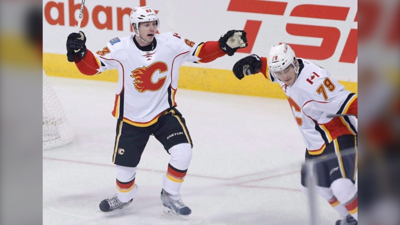 Sam Bennett, left, was dealt to the Florida Panthers, one of two trades made by the Flames. (File photo).