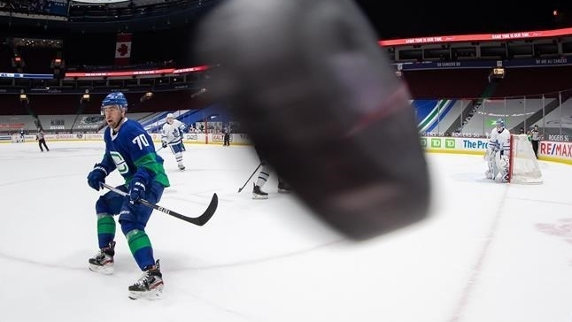 Vancouver Canucks forward Tanner Pearson is seen on the ice during the team's March 6, 2021 game against the Toronto Maple Leafs in Vancouver, B.C. (Darryl Dyck/The Canadian Press via AP)