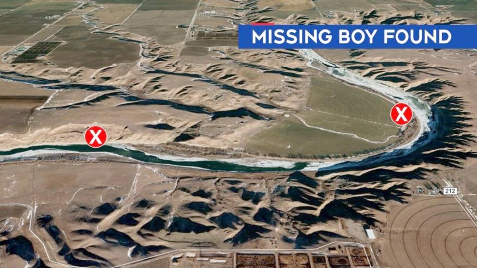A map showing where a five-year-old boy went missing and where he was found.