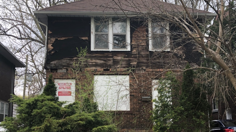 Boarded up house at 357-359 Indian Road in Windsor, Ont. on Monday, April 12, 2021. (Alana Hadadean / CTV Windsor)