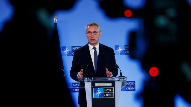 NATO Secretary General Jens Stoltenberg speaks at NATO headquarters in Brussels, on April 13, 2021. (Francisco Seco / AP)