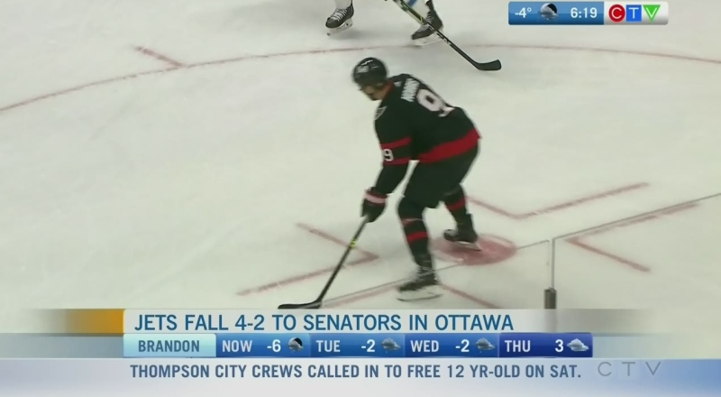 Jets fall to Sens Monday but hold position