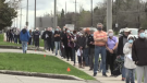 A long line is seen at the North London Optimist Centre Vaccination Clinic on Monday, April 12, 2021. (CTV London)