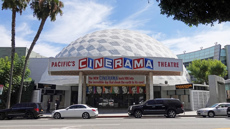 Pacific Theatres and ArcLight cinemas, home to the iconic Cinerama Dome in Hollywood, said on April 12 it will shut 300 screens across California. (Kilmer Media/Shutterstock)