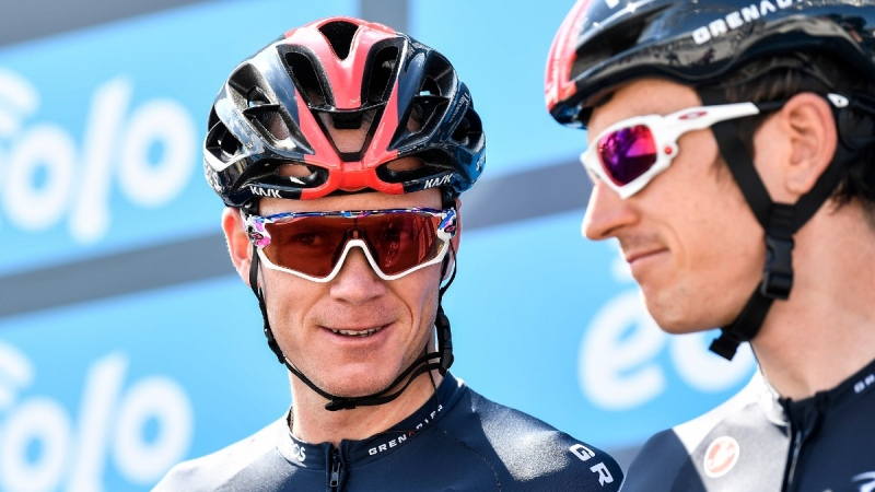 Chris Froome, left, and Geraint Thomas ahead of the first stage of the Tirreno Adriatico cycling race in Lido di Camaiore, Italy, on Sept. 7, 2020.  (Fabio Ferrari / LaPresse via AP)