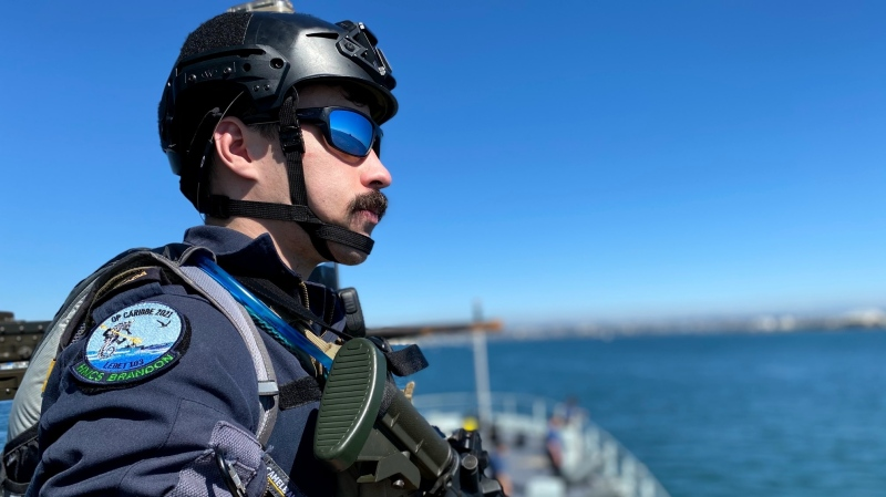 A sailor aboard HMCS Brandon on Operation Caribbe in 2021. (Department of National Defence)