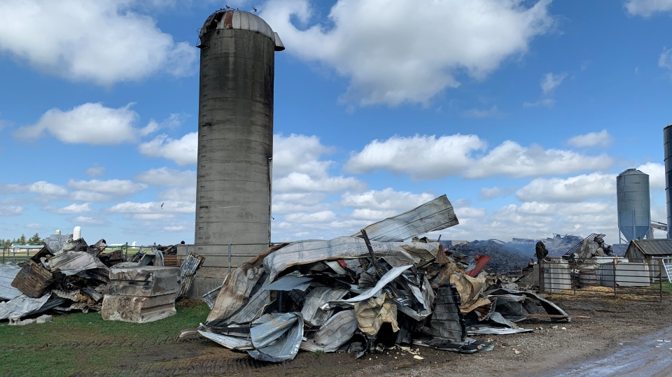 A barn damaged in a fire on Monday night (Stephanie Villella / CTV News Kitchener)