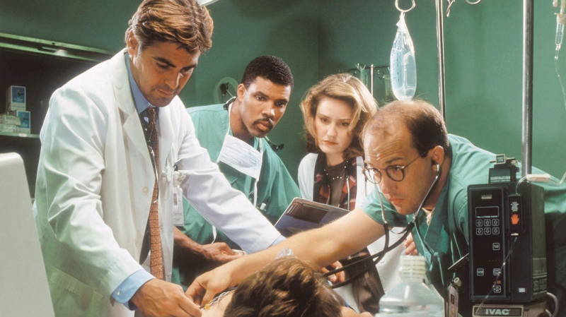 "The cast of ""ER"" will reunite on ""Stars In The House"" for a special Earth Day episode for Waterkeeper Alliance, producers Seth Rudetsky and James Wesley have announced. George Clooney, Eriq La Salle, Sherry Stringfield and Anthony Edwards are seen in this image from Season 1 of the show. (NBC/Courtesy Everett Collectio/©NBC/Courtesy Everett Collectio via CNN)"
