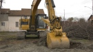 Excavator breaks ground on new transitional housing complex in North Bay. April 13/21 (Alana Pickrell/CTV Northern Ontario)