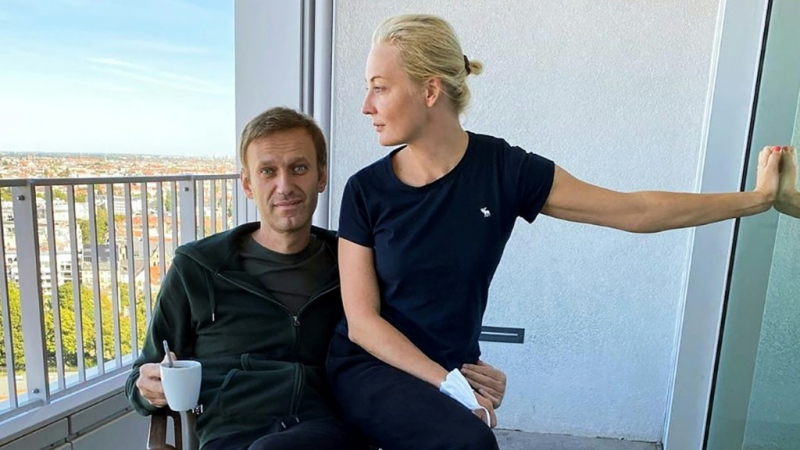 Alexei Navalny and his wife Yulia Navalnaya pictured in Berlin as he recovered from a near-fatal poisoning he blames on the Kremlin. (AFP)