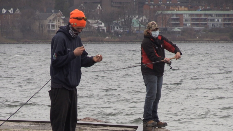 A couple of anglers fish in Simcoe County in April 2021. (Dave Sullivan/CTV News)