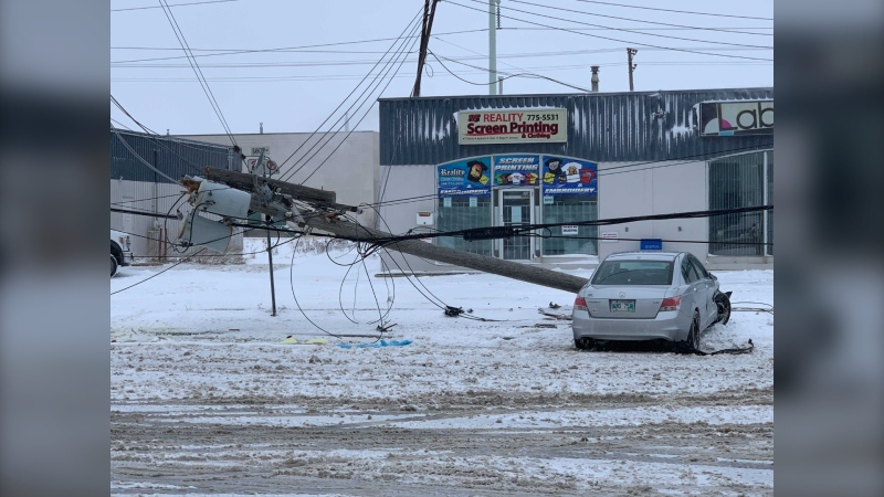 A single vehicle crash involving a hydro pole in the 1700 block of St. James Street. (Source: Jamie Dowsett/CTV News)