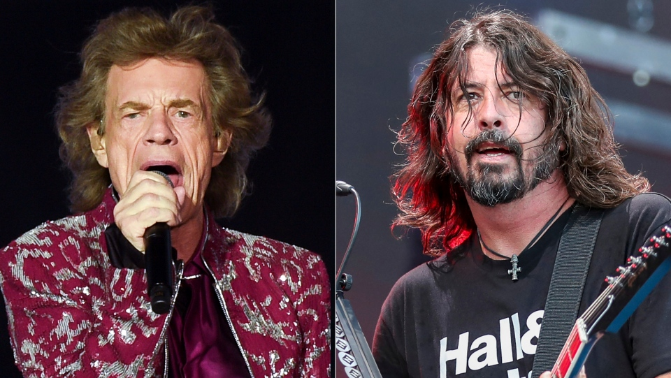 Musician Mick Jagger of The Rolling Stones performs in East Rutherford, N.J. on Aug. 1, 2019, left, Dave Grohl of the Foo Fighters performs at Pilgrimage Music and Cultural Festival in Franklin, Tenn. on Sept. 22, 2019. (AP Photo)