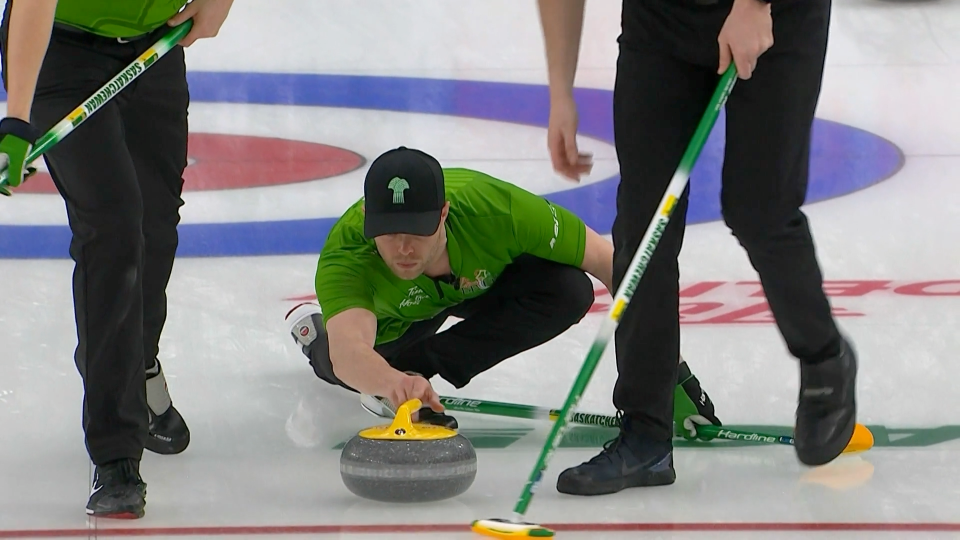 Dustin Kidby throws a stone during the Brier in Calgary's Curling Bubble. The lead for Team Dunstone is now preparing for the Grand Slam in Calgary. (Courtesy: TSN)