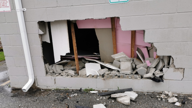 The legion on Back Street in Bradford, Ont. is severely damaged after being struck by a vehicle on Mon. April 12, 2021 (Supplied)