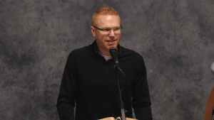 GraceLife Church pastor James Coates speaks in a video of an April 11, 2021, service at an undisclosed location, published to YouTube the next day. (Source: YouTube / GraceLife Church of Edmonton)