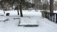 The statue of John A. Macdonald has been removed from Regina's Victoria Park. (Katy Syrota / CTV News Regina)