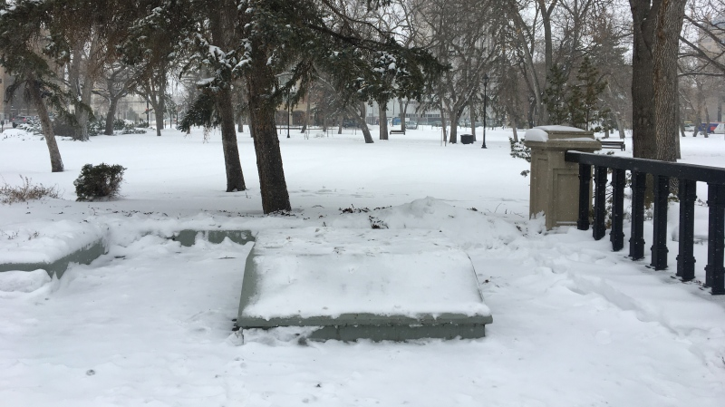 The statue of John A. Macdonald has been removed from Regina's Victoria Park. (Katy Syrota / CTV News Regina)