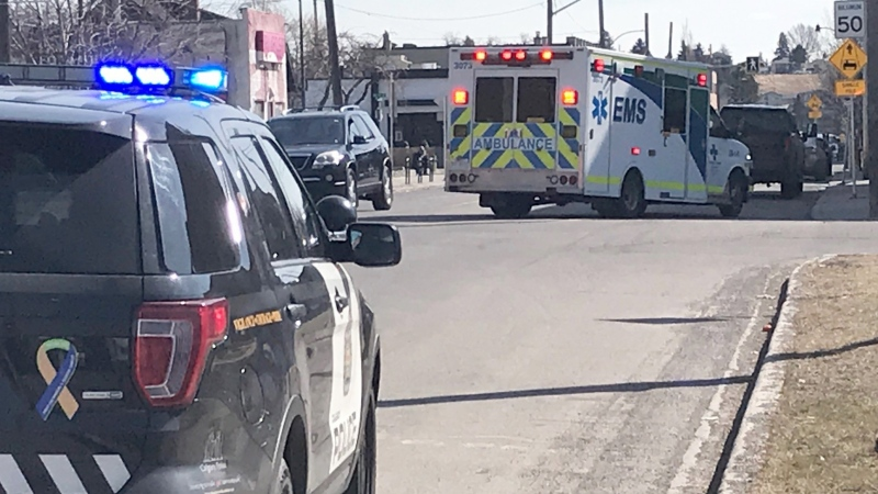 A pedestrian suffered minor injuries after being hit in the community of Bridgeland.