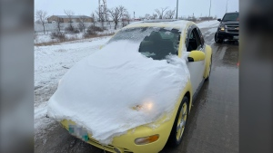 Manitoba RCMP said a 17-year-old driver was handed a $113 fine for driving with their view obstructed by snow on April 13, 2021. (Source: Manitoba RCMP)