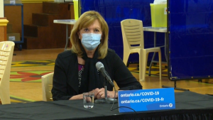 Ontario Health Minister Christine Elliott at a press conference April 13, 2021.