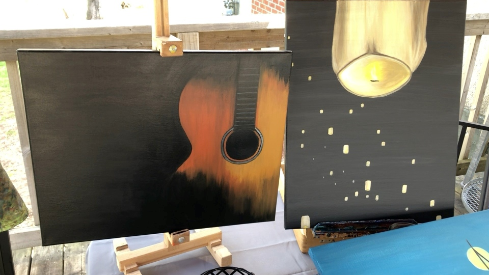 The stringless guitar JoAnne Simon painted for her late brother. (Dave Charbonneau / CTV News Ottawa)